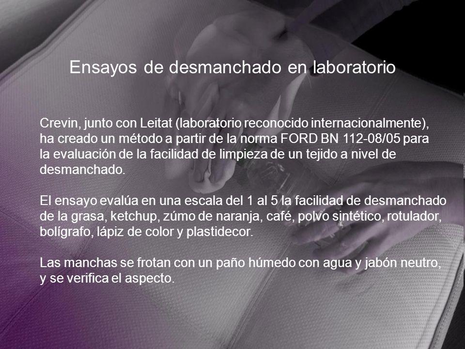 Ensayos de desmanchado en laboratorio