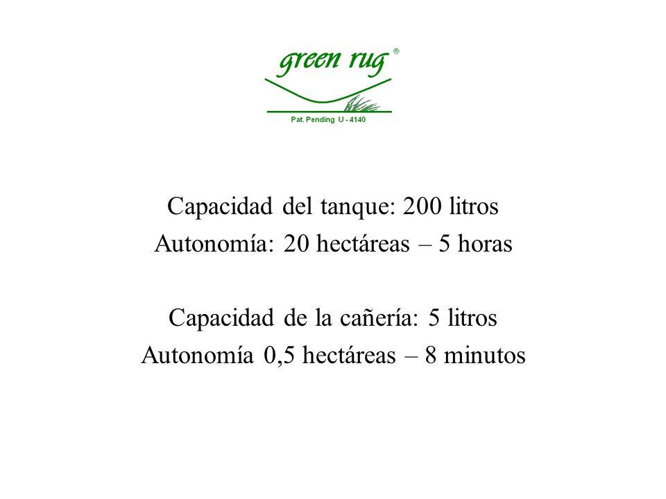 Capacidad del tanque: 200 litros Autonomía: 20 hectáreas – 5 horas