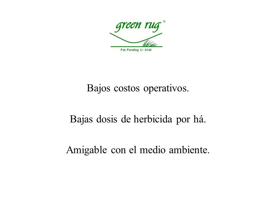 Bajos costos operativos. Bajas dosis de herbicida por há.