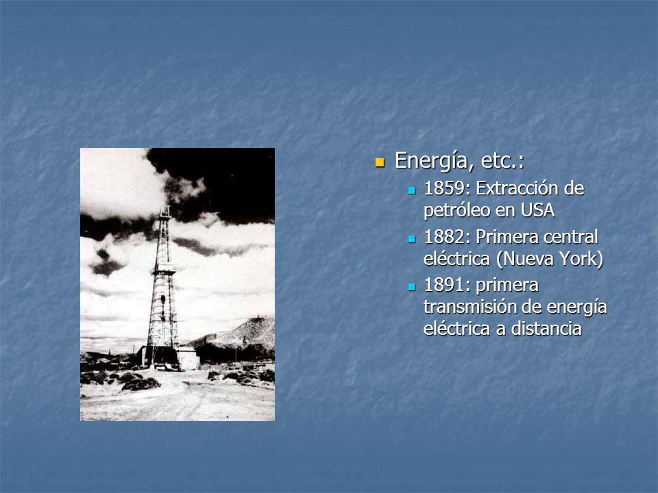 Energía, etc.: 1859: Extracción de petróleo en USA