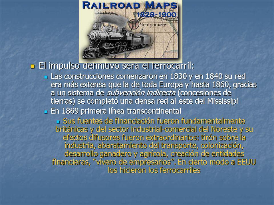 El impulso definitivo será el ferrocarril: