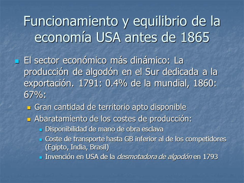 Funcionamiento y equilibrio de la economía USA antes de 1865