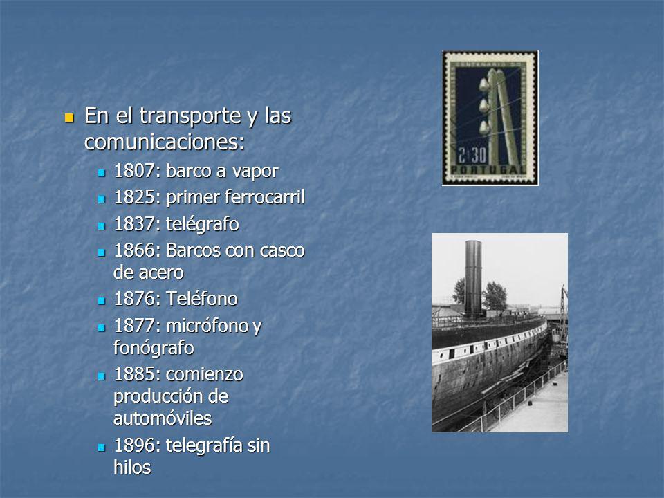 En el transporte y las comunicaciones: