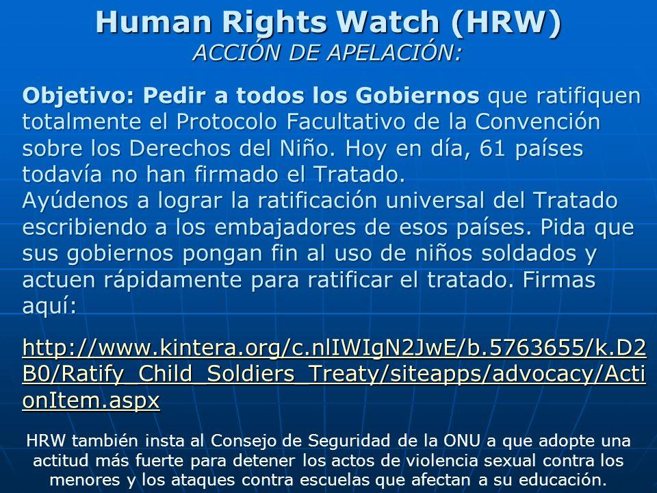 Human Rights Watch (HRW) ACCIÓN DE APELACIÓN: