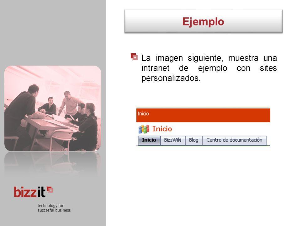 Ejemplo La imagen siguiente, muestra una intranet de ejemplo con sites personalizados. 6