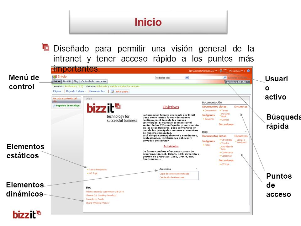 Inicio Diseñado para permitir una visión general de la intranet y tener acceso rápido a los puntos más importantes.