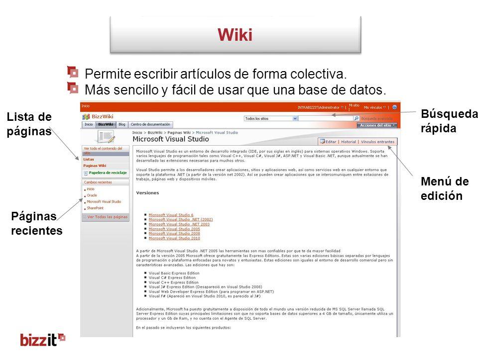 Wiki Permite escribir artículos de forma colectiva.