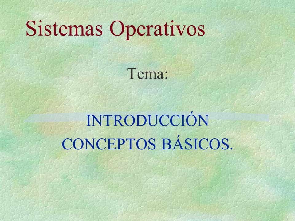 Tema: INTRODUCCIÓN CONCEPTOS BÁSICOS.