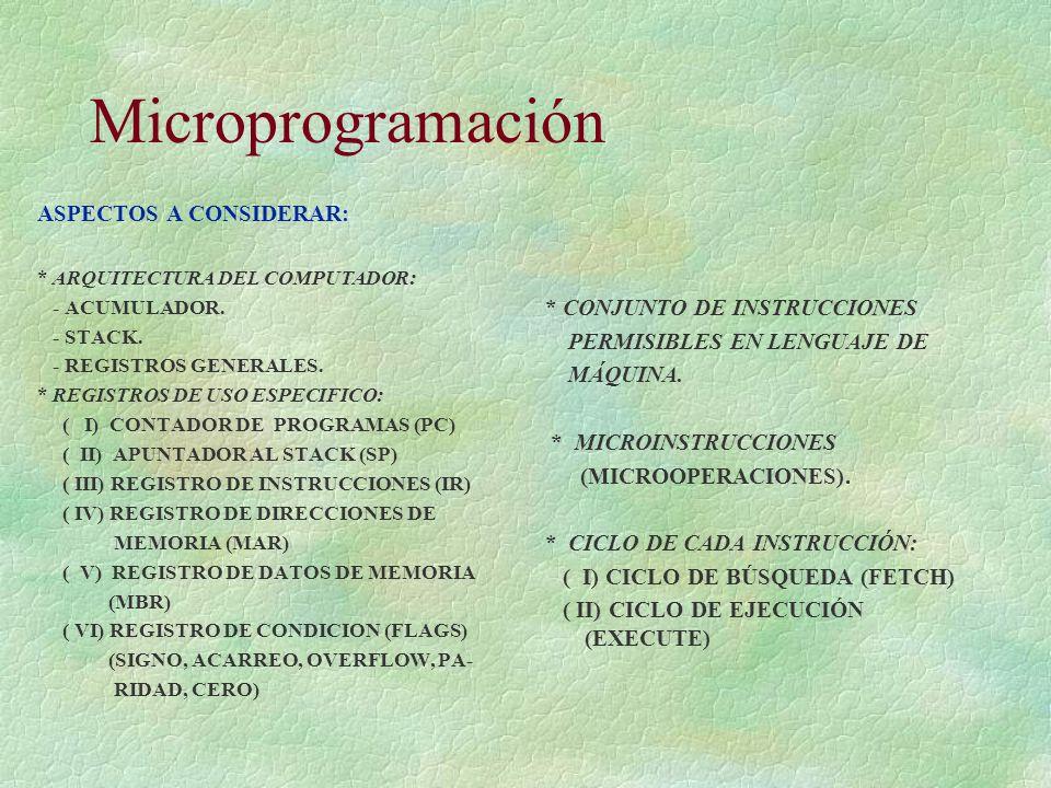 Microprogramación ASPECTOS A CONSIDERAR: * CONJUNTO DE INSTRUCCIONES