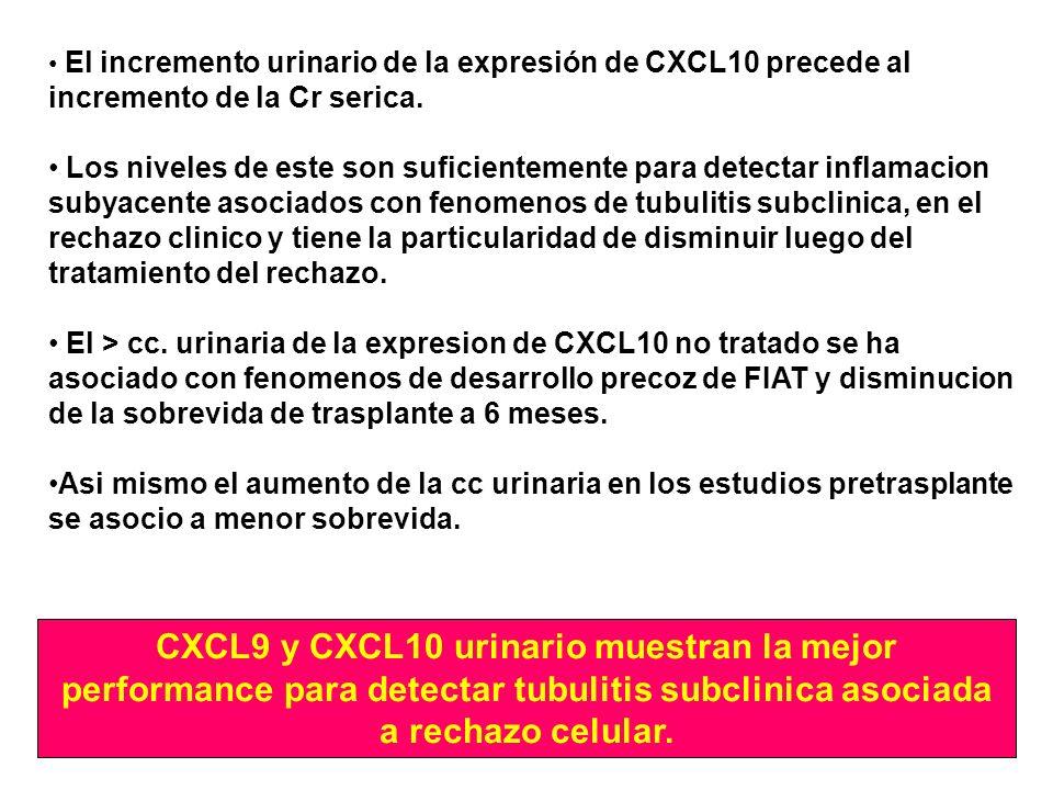El incremento urinario de la expresión de CXCL10 precede al incremento de la Cr serica.