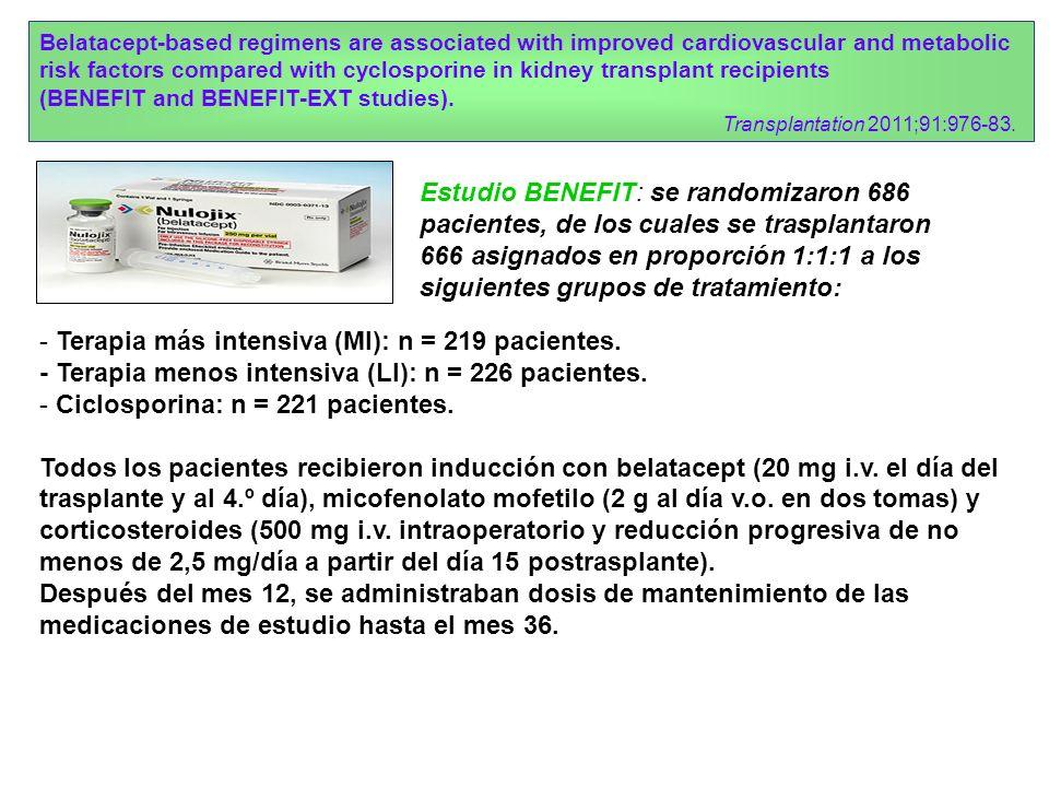 - Terapia más intensiva (MI): n = 219 pacientes.