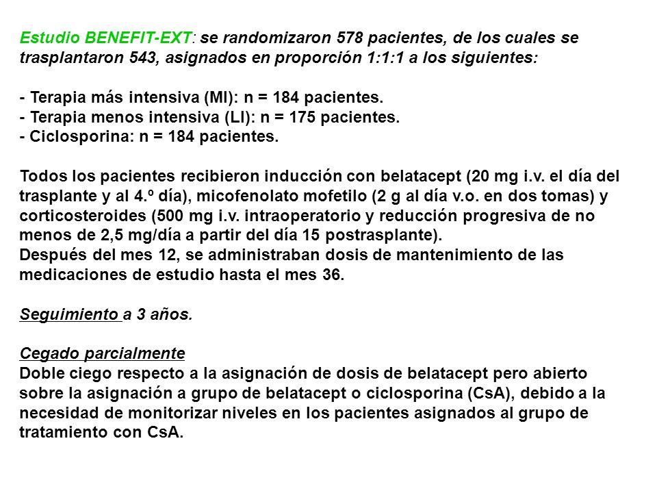 Estudio BENEFIT-EXT: se randomizaron 578 pacientes, de los cuales se trasplantaron 543, asignados en proporción 1:1:1 a los siguientes: