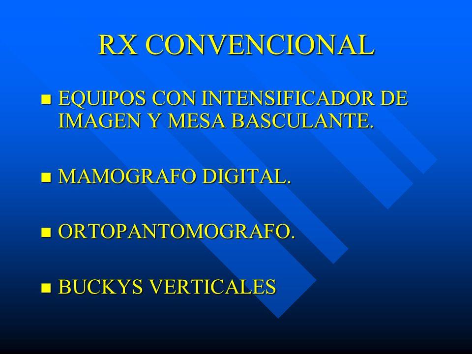 RX CONVENCIONAL EQUIPOS CON INTENSIFICADOR DE IMAGEN Y MESA BASCULANTE. MAMOGRAFO DIGITAL. ORTOPANTOMOGRAFO.