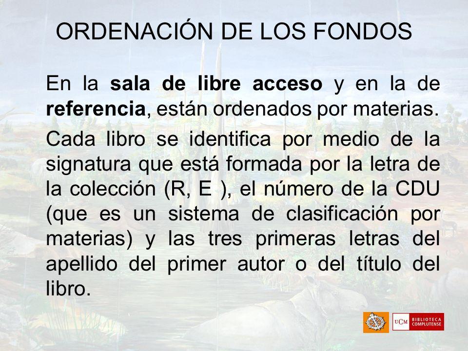 ORDENACIÓN DE LOS FONDOS