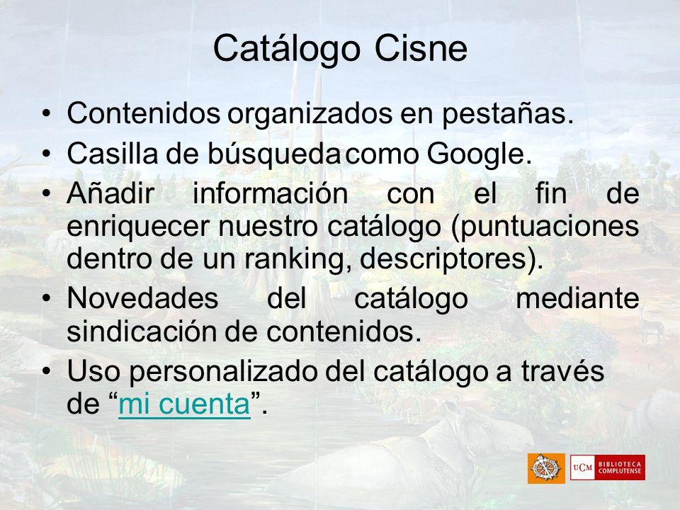 Catálogo Cisne Contenidos organizados en pestañas.