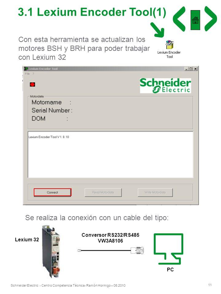 3.1 Lexium Encoder Tool(1) Con esta herramienta se actualizan los motores BSH y BRH para poder trabajar con Lexium 32.