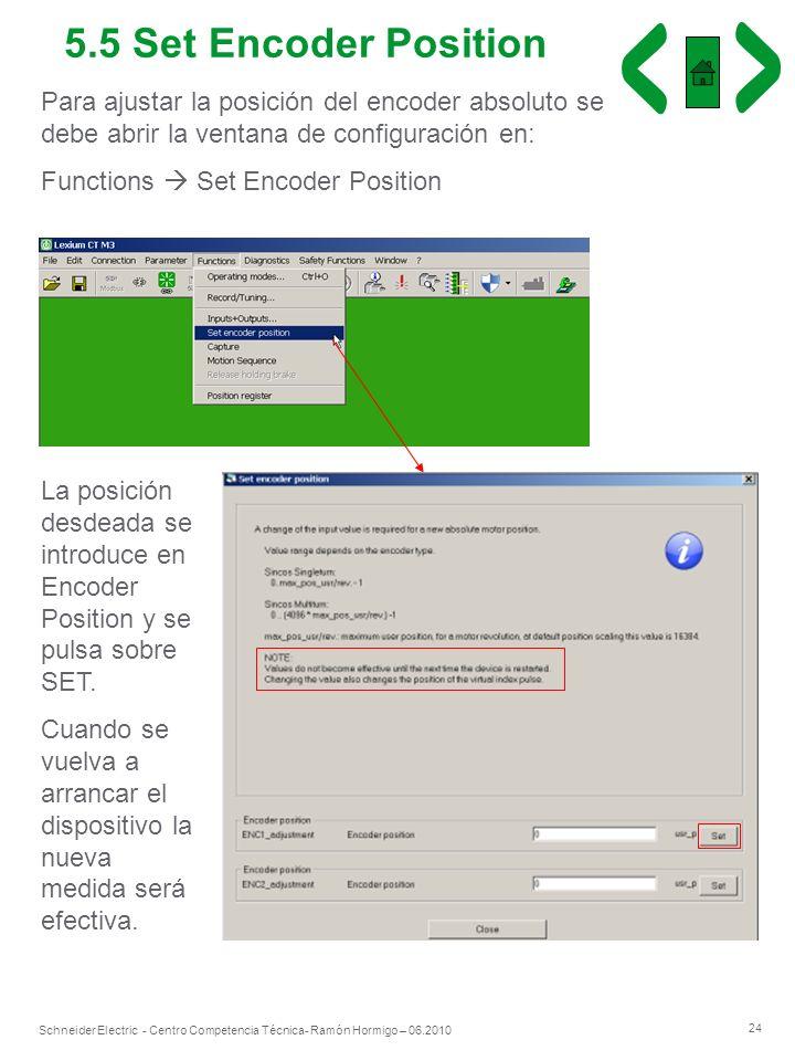 5.5 Set Encoder Position Para ajustar la posición del encoder absoluto se debe abrir la ventana de configuración en: