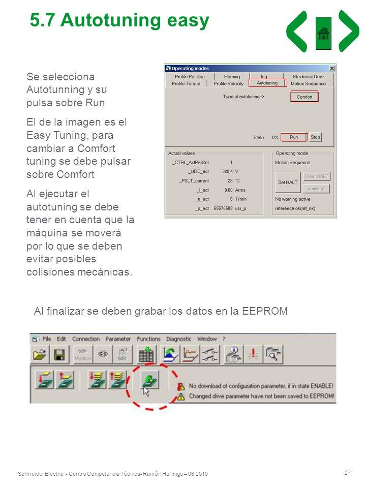 5.7 Autotuning easy Se selecciona Autotunning y su pulsa sobre Run