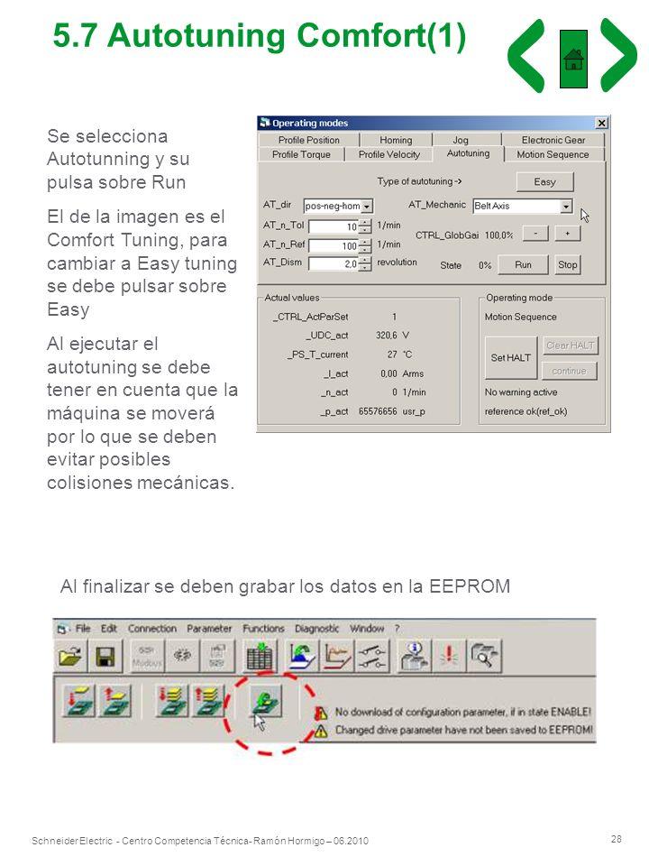 5.7 Autotuning Comfort(1) Se selecciona Autotunning y su pulsa sobre Run.