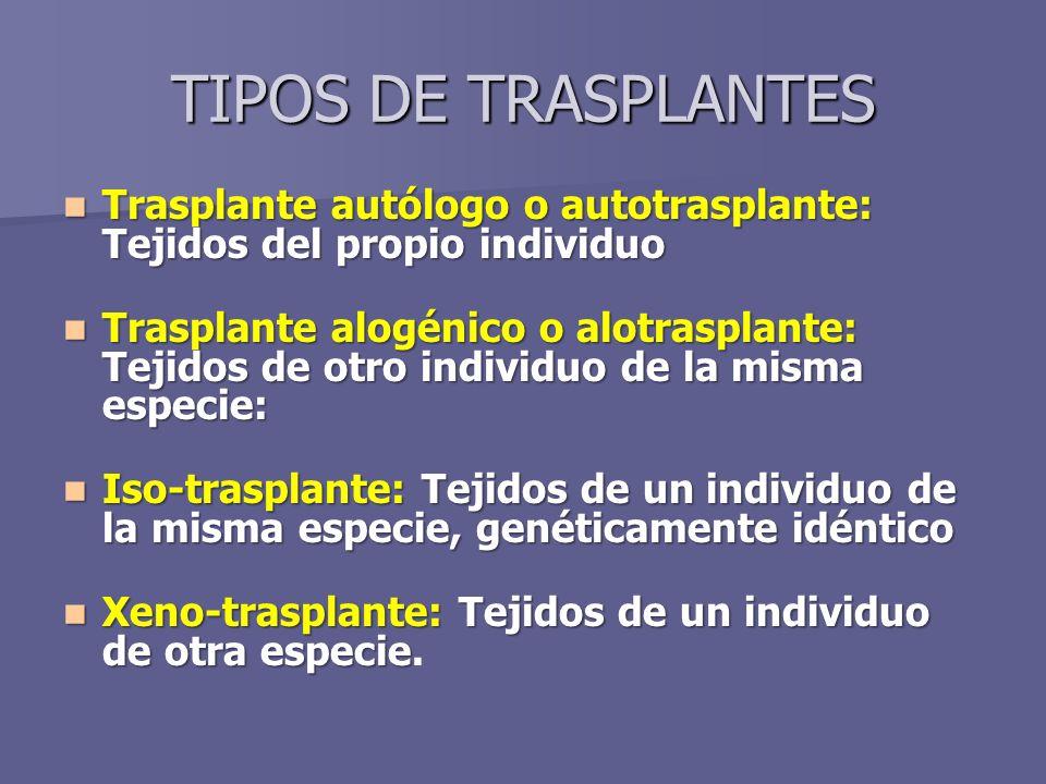 TIPOS DE TRASPLANTES Trasplante autólogo o autotrasplante: Tejidos del propio individuo.