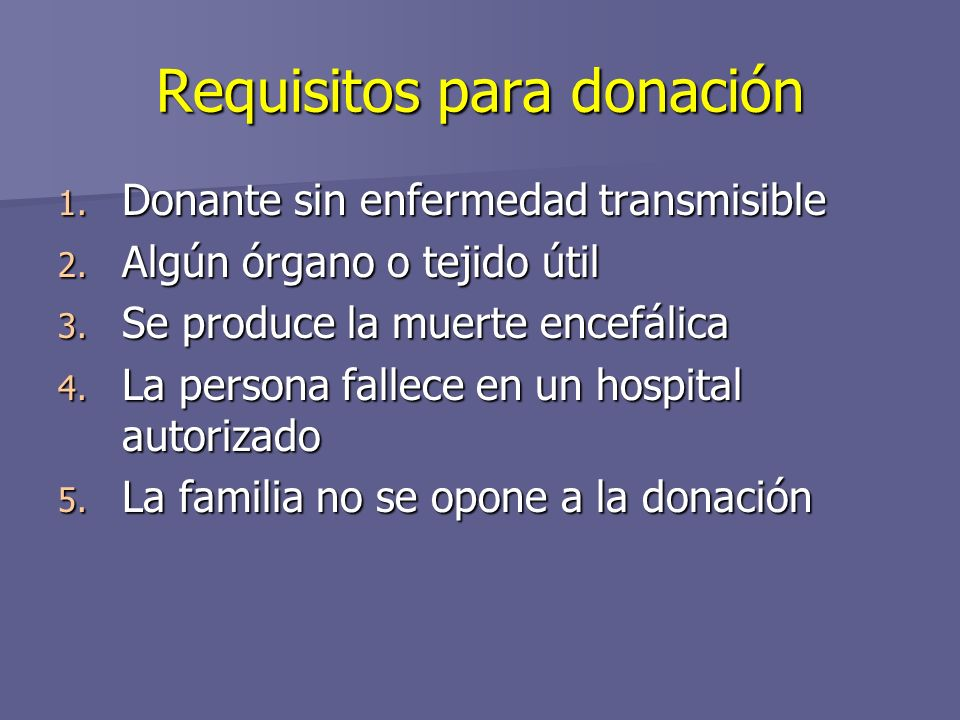 Requisitos para donación