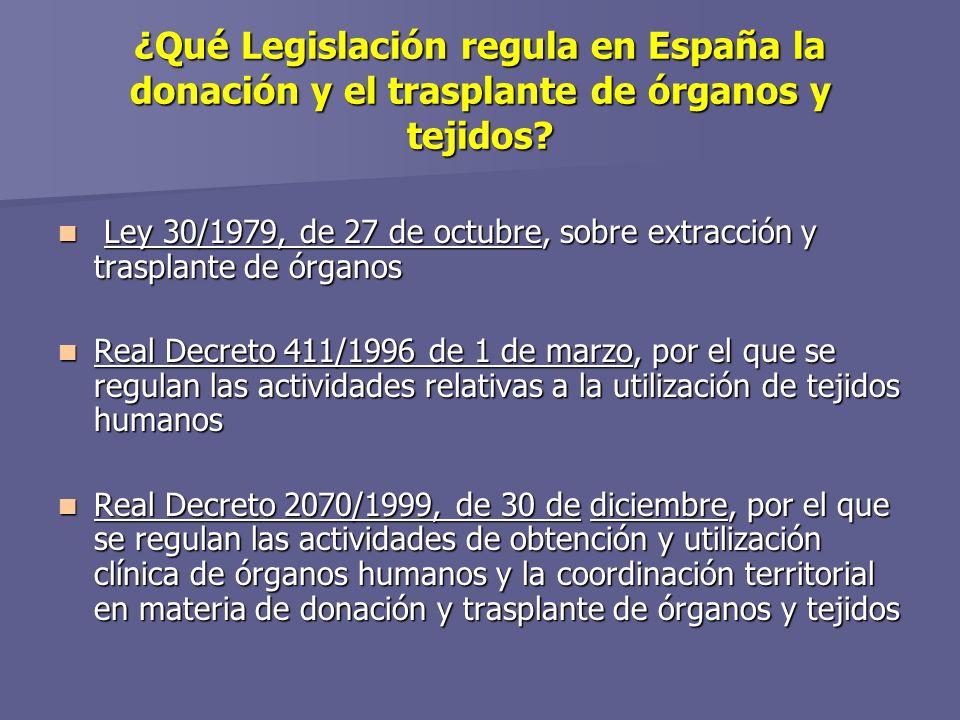 ¿Qué Legislación regula en España la donación y el trasplante de órganos y tejidos