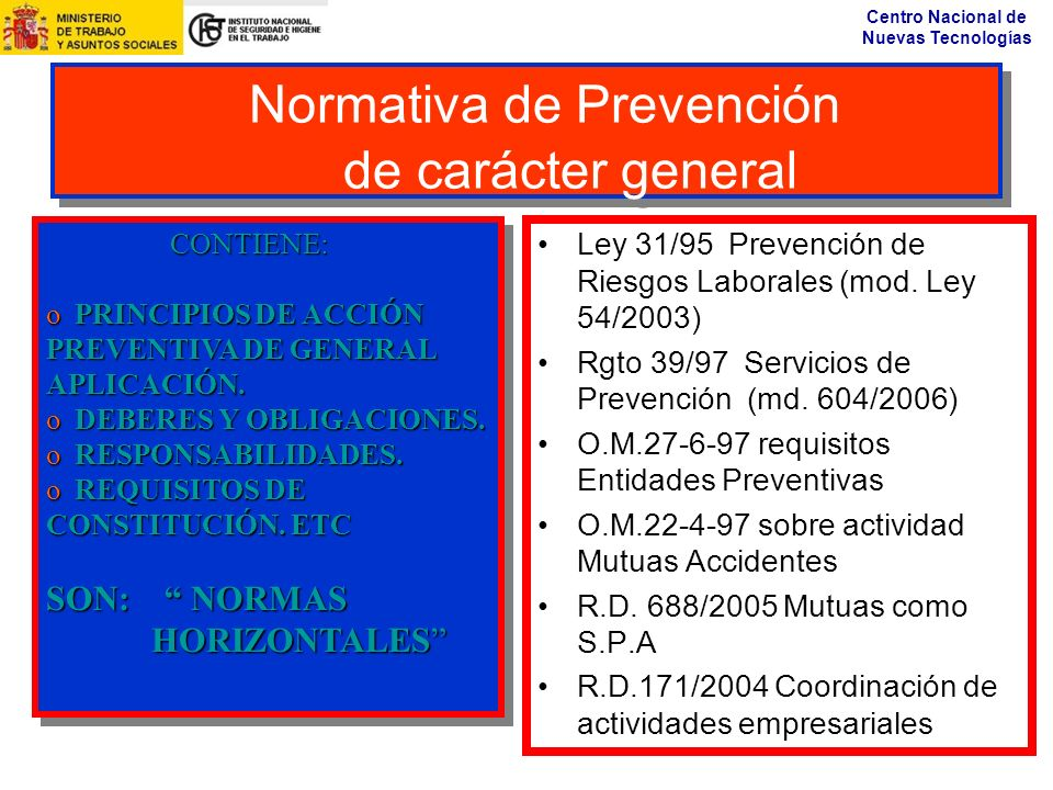 Normativa de Prevención de carácter general