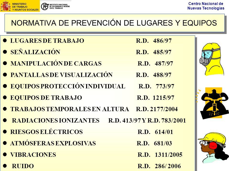 NORMATIVA DE PREVENCIÓN DE LUGARES Y EQUIPOS