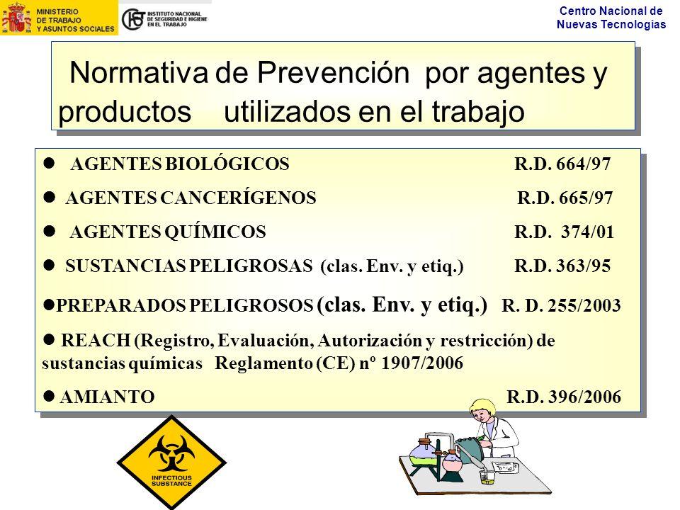 Normativa de Prevención por agentes y productos utilizados en el trabajo