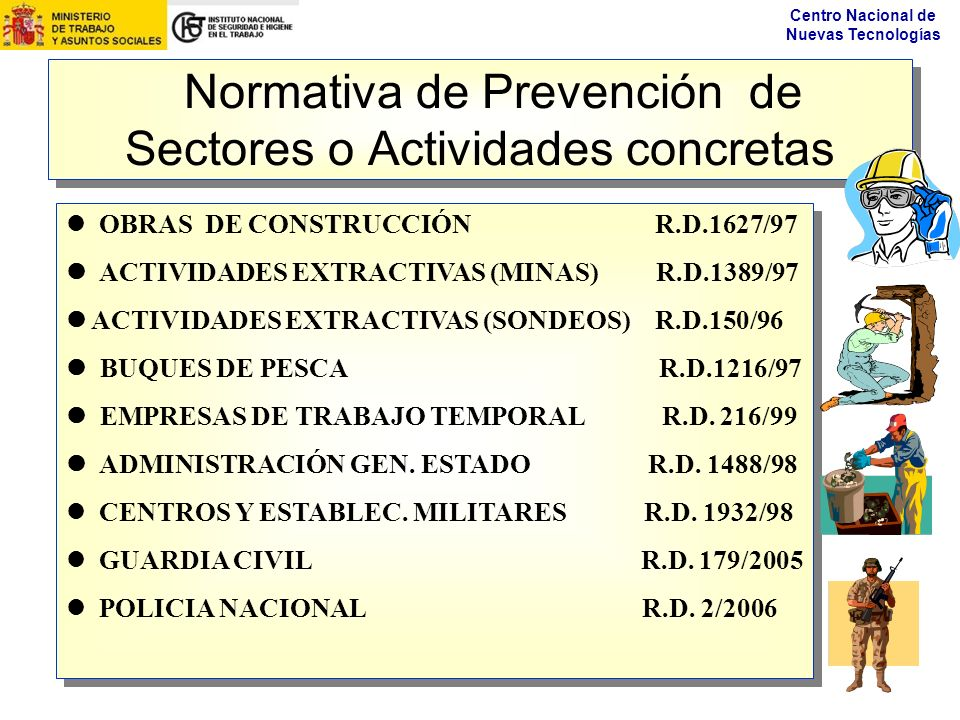 Normativa de Prevención de Sectores o Actividades concretas