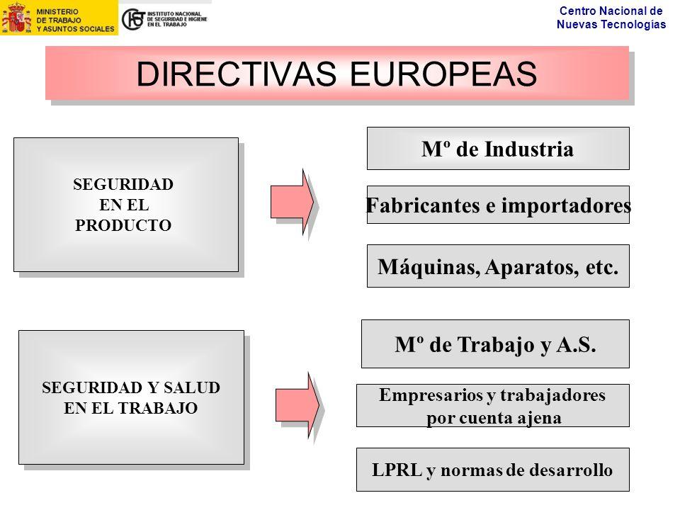 DIRECTIVAS EUROPEAS Mº de Industria Fabricantes e importadores