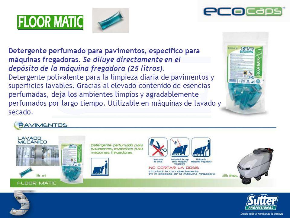 FLOOR MATIC CAPS Detergente perfumado para pavimentos, específico para máquinas fregadoras. Se diluye directamente en el.