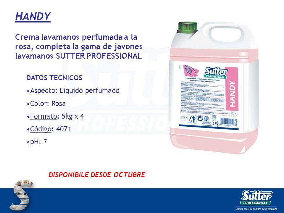 HANDY Crema lavamanos perfumada a la rosa, completa la gama de javones lavamanos SUTTER PROFESSIONAL.