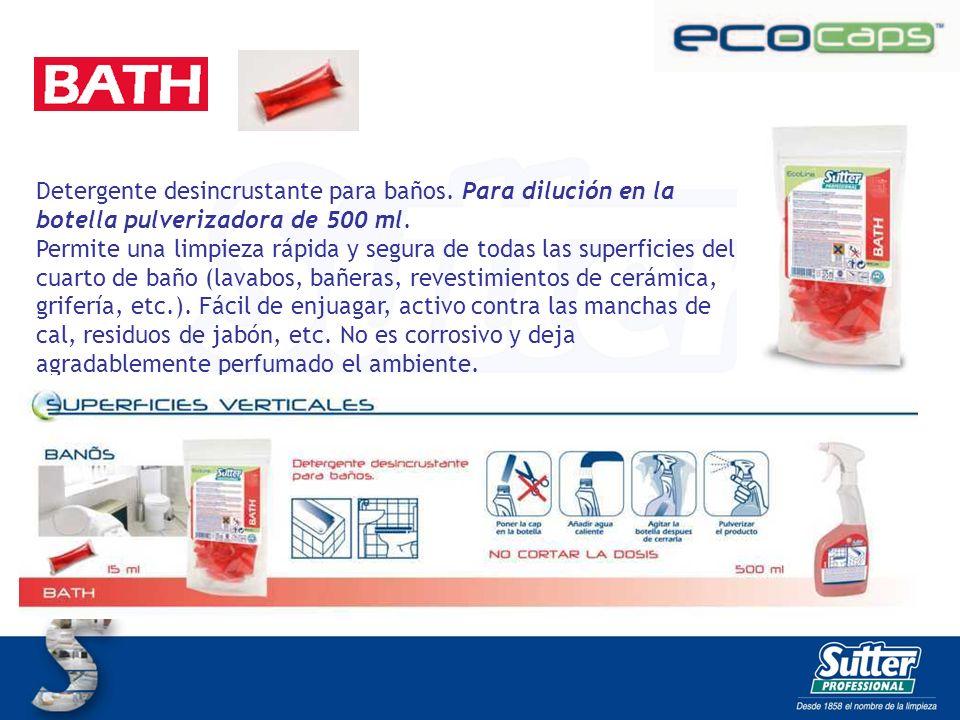 BATH CAPS Detergente desincrustante para baños. Para dilución en la botella pulverizadora de 500 ml.