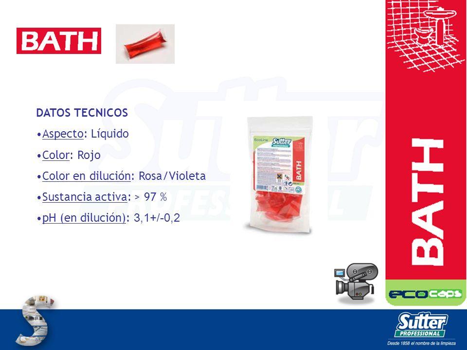 DATOS TECNICOS Aspecto: Líquido. Color: Rojo. Color en dilución: Rosa/Violeta. Sustancia activa: > 97 %