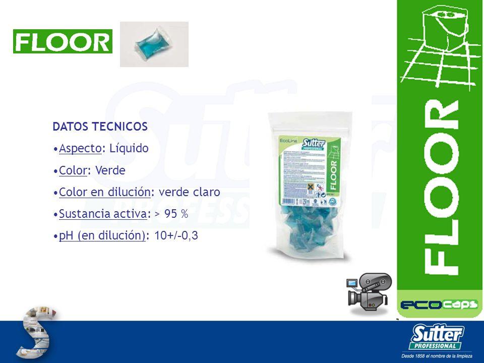 DATOS TECNICOS Aspecto: Líquido. Color: Verde. Color en dilución: verde claro. Sustancia activa: > 95 %
