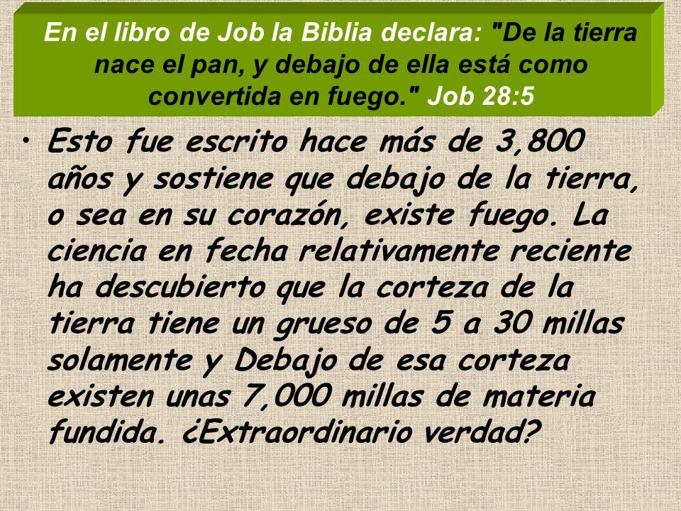 En el libro de Job la Biblia declara: De la tierra nace el pan, y debajo de ella está como convertida en fuego. Job 28:5