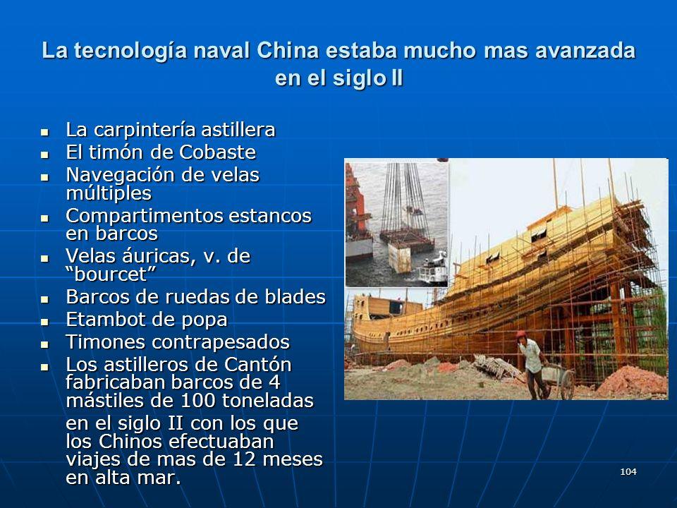 La tecnología naval China estaba mucho mas avanzada en el siglo II