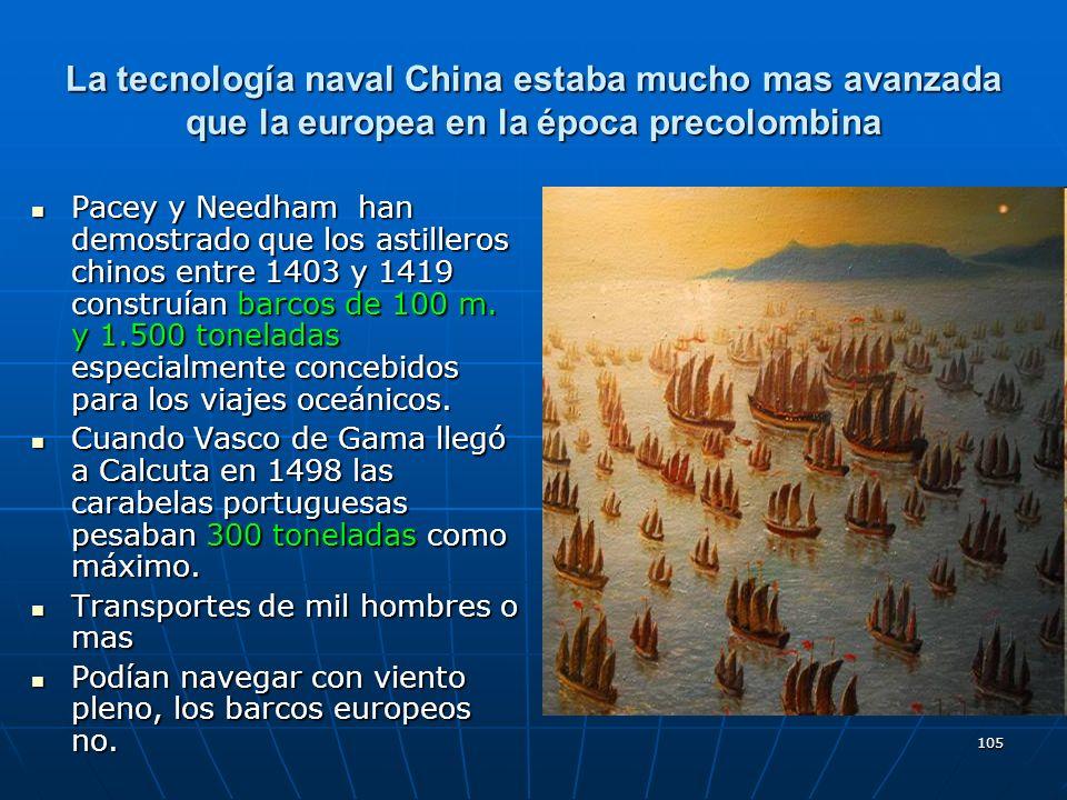 La tecnología naval China estaba mucho mas avanzada que la europea en la época precolombina