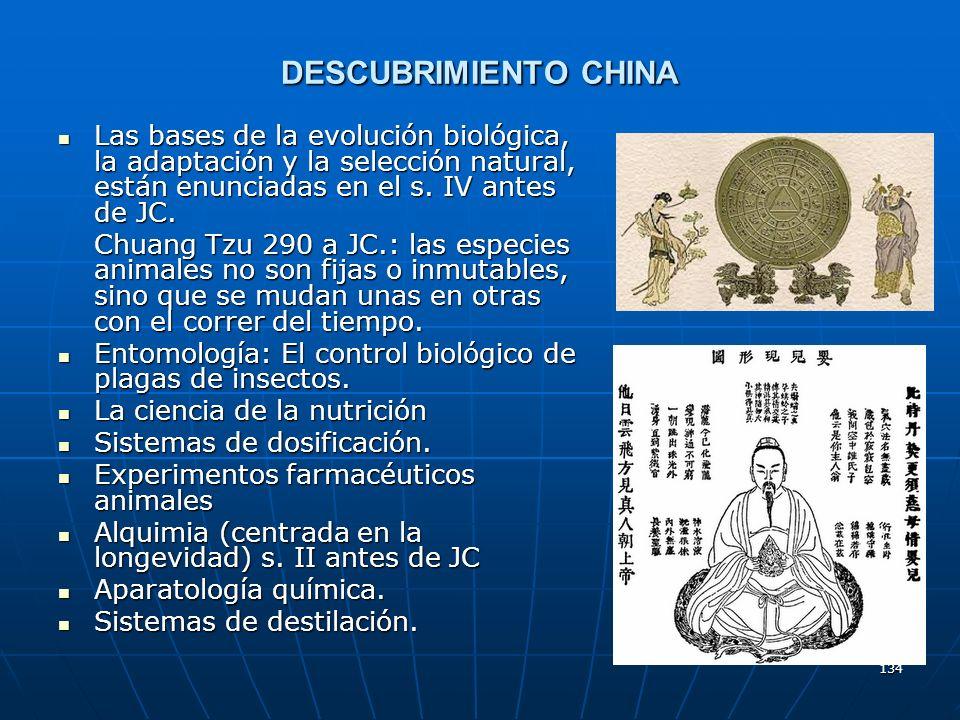 DESCUBRIMIENTO CHINA Las bases de la evolución biológica, la adaptación y la selección natural, están enunciadas en el s. IV antes de JC.