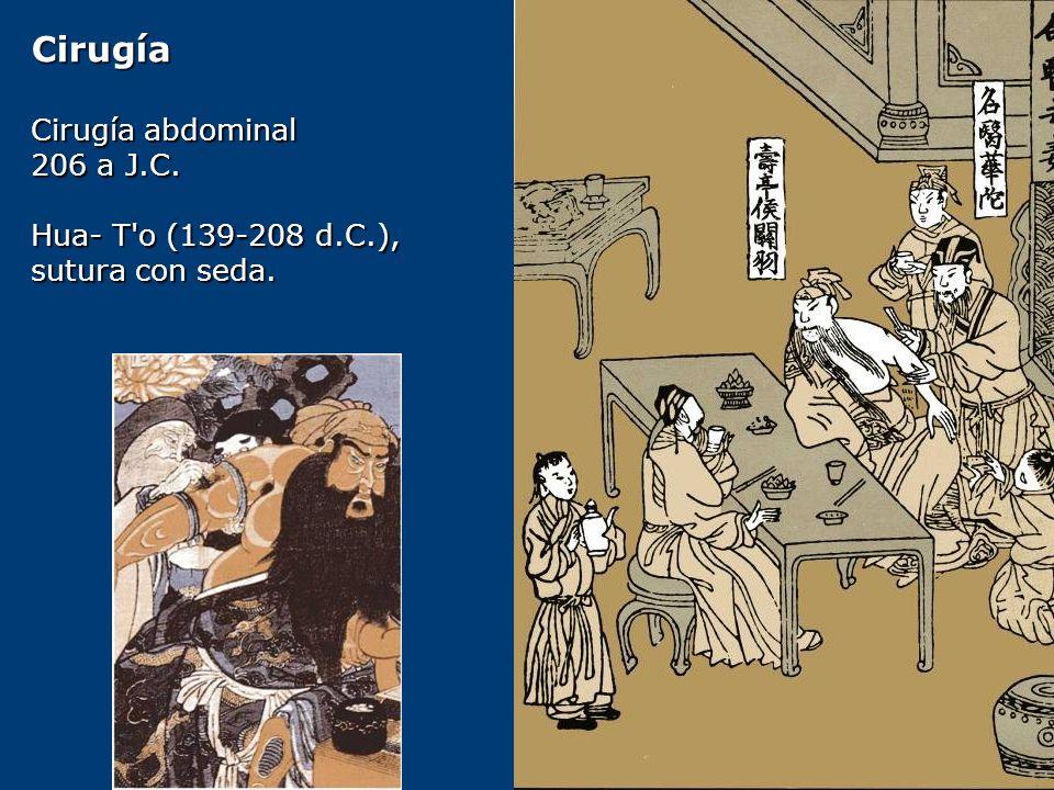 Cirugía Cirugía abdominal 206 a J.C. Hua- T o (139-208 d.C.),
