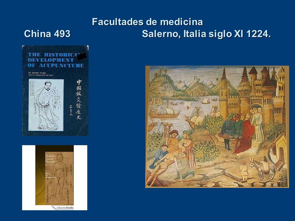 Facultades de medicina China 493 Salerno, Italia siglo XI 1224.