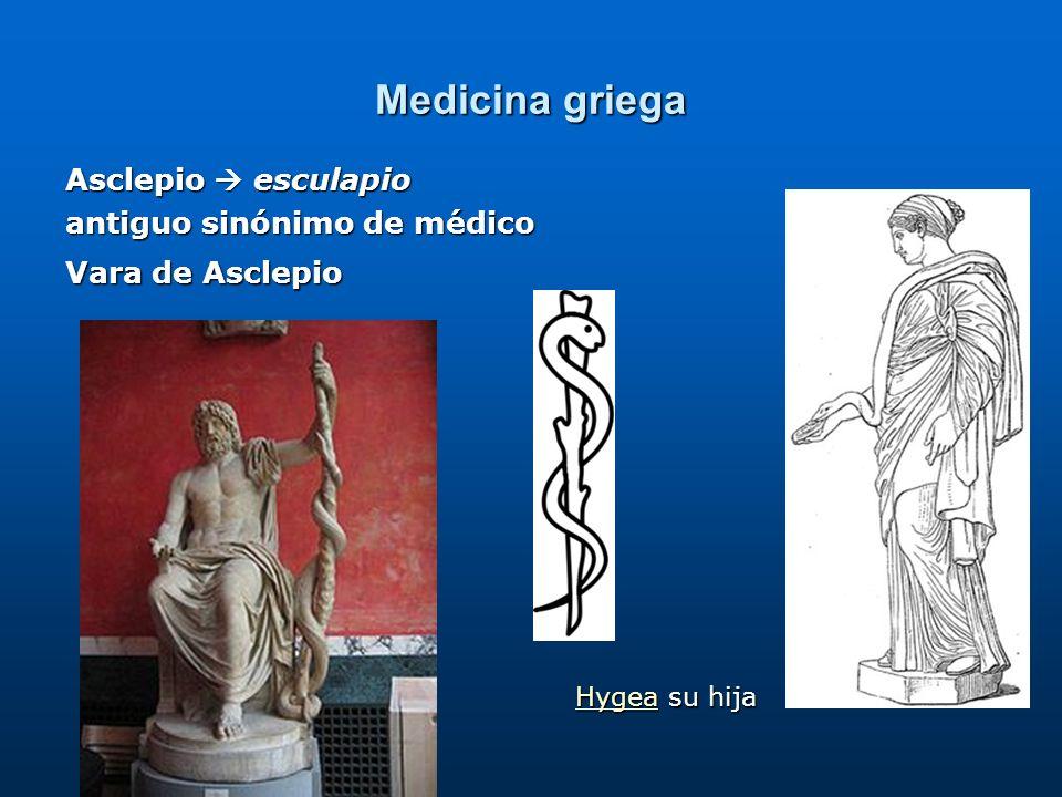 Medicina griega Asclepio  esculapio antiguo sinónimo de médico