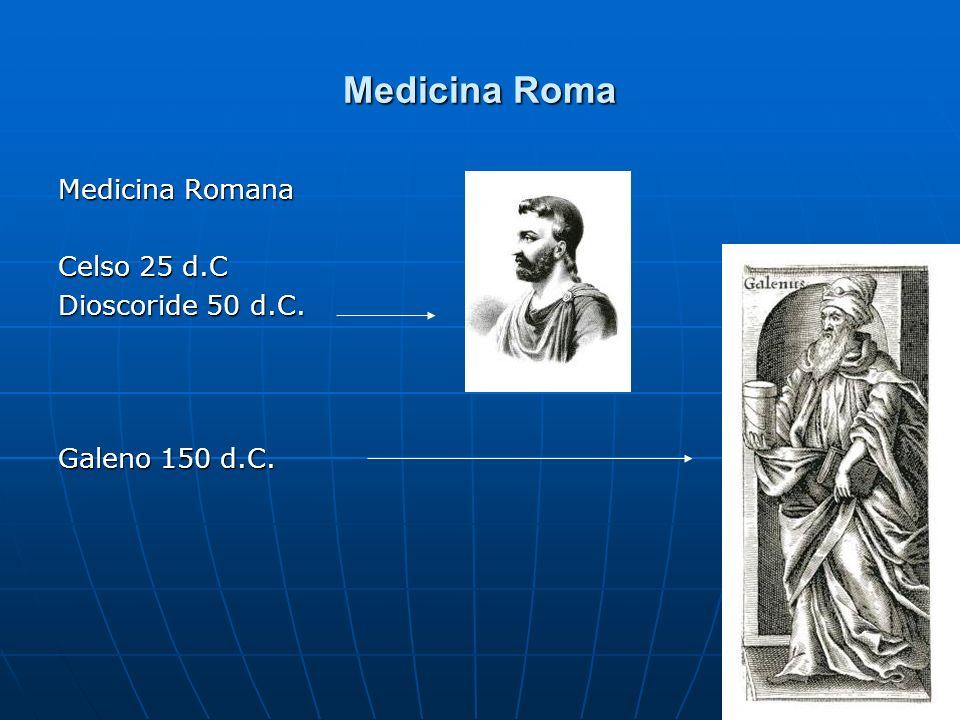Medicina Roma Medicina Romana Celso 25 d.C Dioscoride 50 d.C.