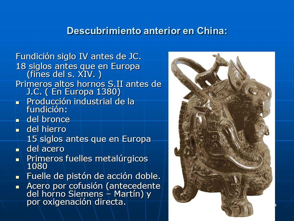 Descubrimiento anterior en China: