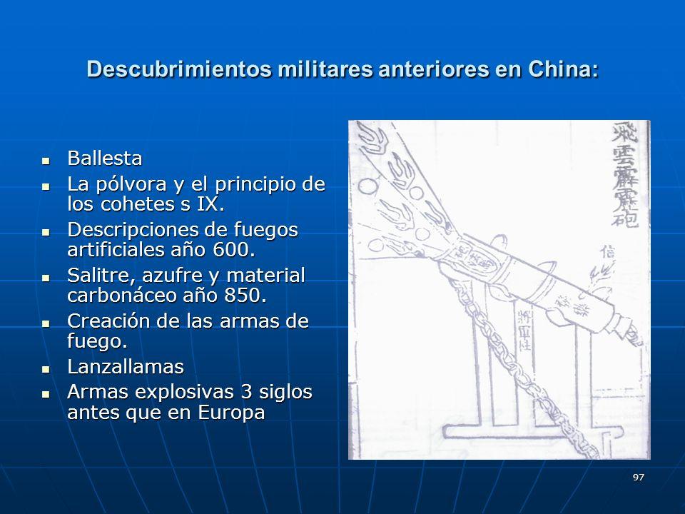 Descubrimientos militares anteriores en China: