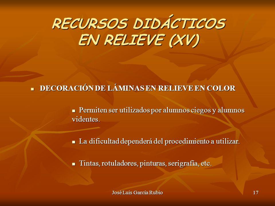 RECURSOS DIDÁCTICOS EN RELIEVE (XV)