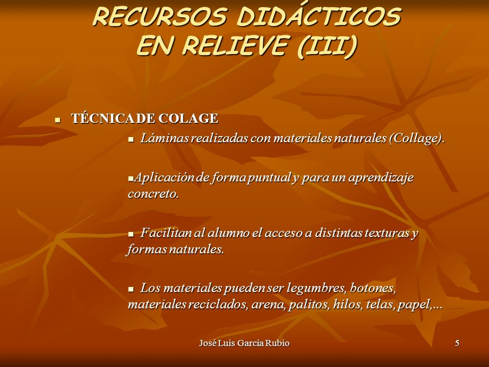 RECURSOS DIDÁCTICOS EN RELIEVE (III)