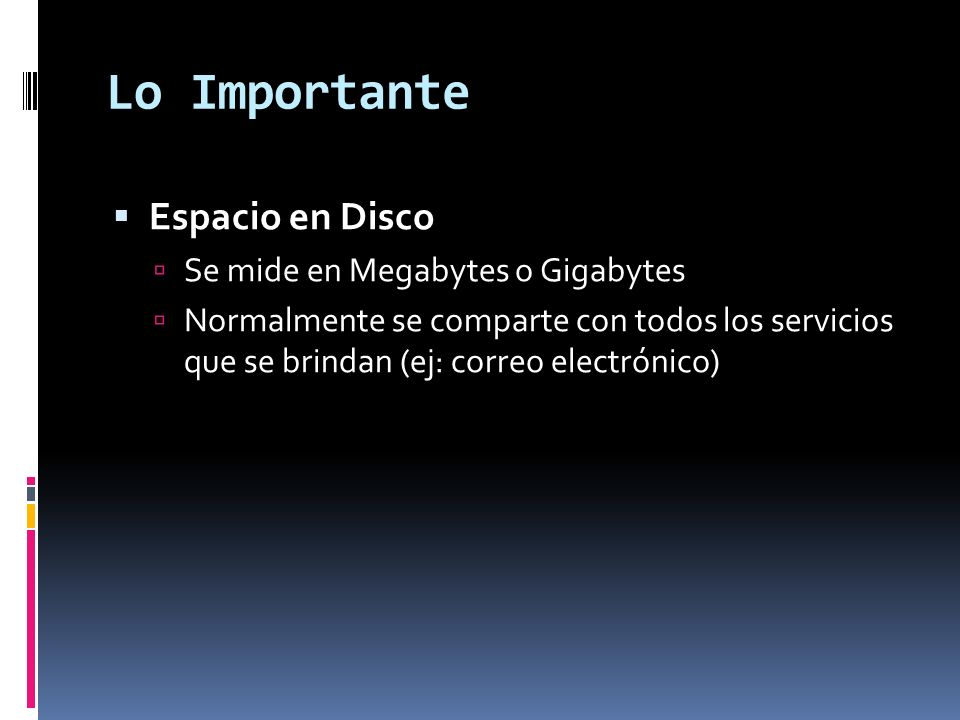 Lo Importante Espacio en Disco Se mide en Megabytes o Gigabytes