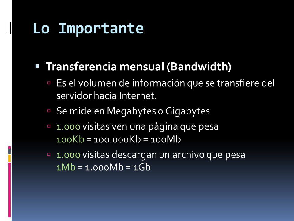 Lo Importante Transferencia mensual (Bandwidth)